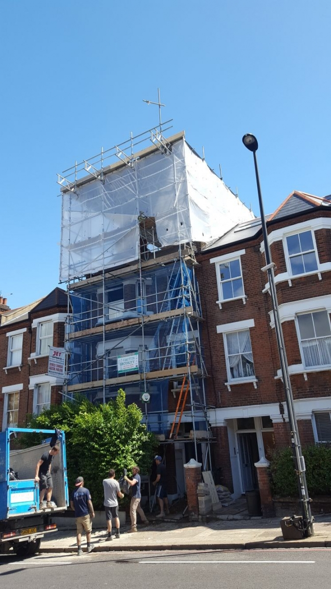 Domestic scaffolding in London